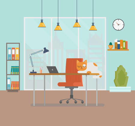 Flat design vector illustration of modern creative office workspace with laptop and cat. The office of a creative worker. Flat minimalistic style and color. Education process. Vector illustration