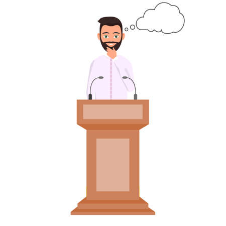 Orator speaking from tribune with thought clouds, public speaker character. Thinking man in a white shirt is standing behind the podium. ector Illustration