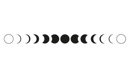 Mondphasen-Astronomie-Symbol auf weißem Hintergrund. Vektorillustration Vektorgrafik