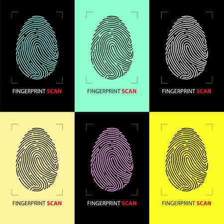 Scanning system for identification of fingerprints on multi-colored backgrounds. The concept of biometric authorization and business security. Vector illustration.