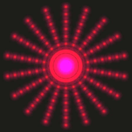 Glowing halftone red dots circle. Abstract neon lights background for your design Stock Illustratie