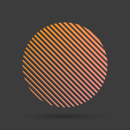 A circle formed from lines. Circle of orange lines in the shape of the sun on a black background. Vector illustration for design your website and print