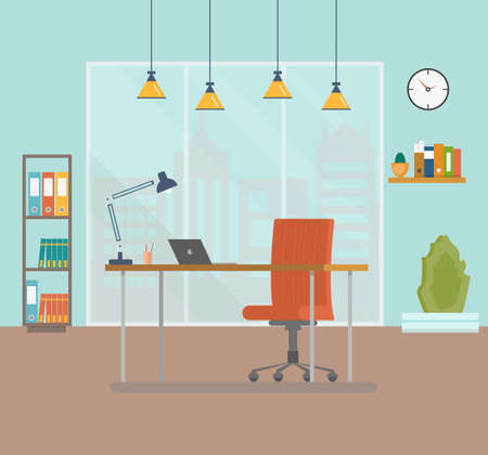 Flat design vector illustration of modern creative office workspace with laptop and window. The office of a creative worker. Flat minimalistic style and color. Vector illustration Stock Illustratie