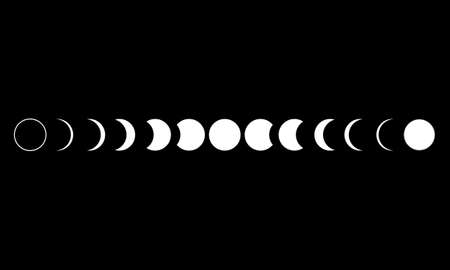 Moon phases astronomy icon set on black background. Vector Illustration