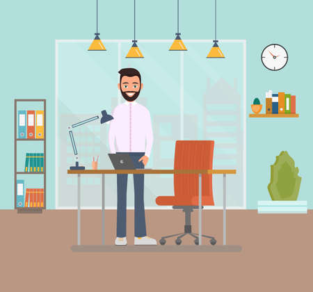 Smiling businessman with a beard standing at the workplace on a desk with a laptop. The nature of a business employee in the office. Commercial space in the office with a large window. Vector illustration Ilustração