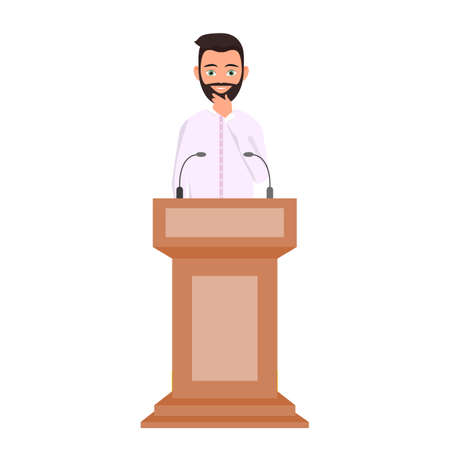 Orator speaking from tribune, public speaker character. Thinking man in a white shirt is standing behind the podium. ector Illustration