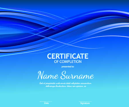 Certificate of completion template with blue futuristic wavy background. Vector Ilustração