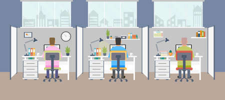 Modern office interior with employees. Office space with panoramic windows. Vector illustration