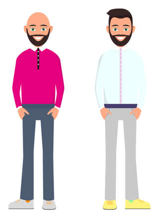 two friends are standing on a white background. A young man with a beard and a white shirt. A young man with a beard and hairless in a pink shirt. A young hipster man with a beard. Vector illustration