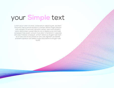 Universal Cover Design with Gradient Colored Wave Line on White Background. Simple Template with Horizontal Smooth Curved Line for Business Presentation, Publications. 向量圖像