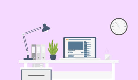 Flat design interior concept of work place with laptop, lamp, to do list, clock, working programs on monitor, organizer, shelf, books, and cup of coffee on pink wall background