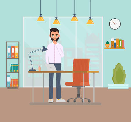 Thinking businessman with a beard standing at the workplace on a desk with a laptop. The nature of a business employee in the office. Commercial space in the office with a large window. Vector illustration Stock Illustratie