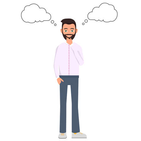 A man thinks and thinks on a white background, vector illustration Dreaming man with thought clouds. Stock Illustratie