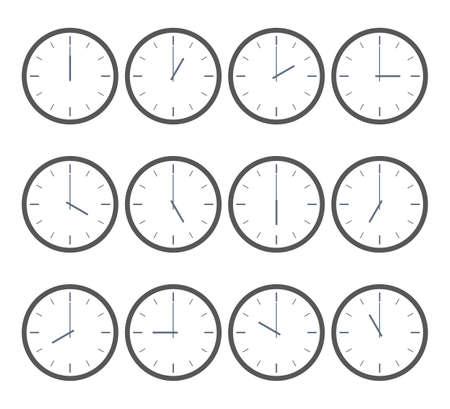 Icono de tiempo de vector. Reloj que muestra cada hora. Ilustración de vector sobre fondo blanco. Para web de temporizador de deportes de negocios. Símbolo abstracto. Poder editar.