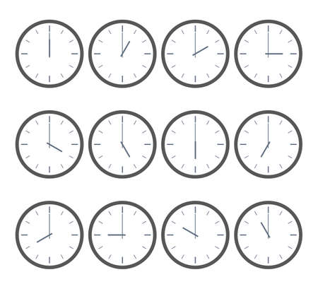 Vector time icon. Clock that show every hour. Vector illustration on white set. For business sport timer web . Abstract symbol. Can edit.  イラスト・ベクター素材