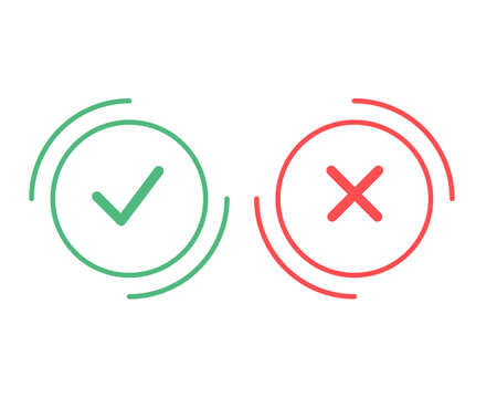 Tick and cross signs. Green checkmark OK and red X icons, isolated on white background. Simple marks design. Circle shape symbols YES and NO button for vote, decision, web. Vector illustration