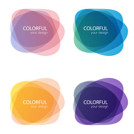 Set of round colorful vector shapes. Abstract vector banners. Design elements. Stock Illustratie