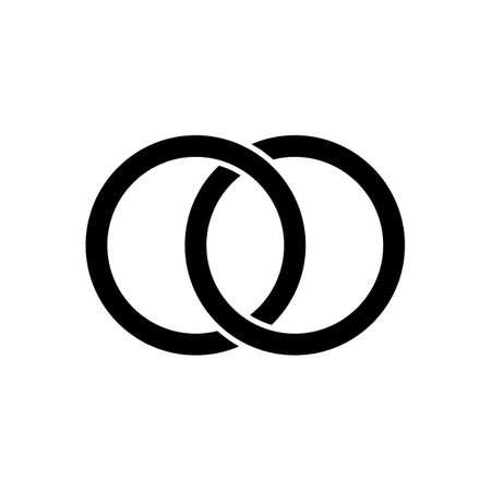 Interlocking circles, rings contour. Circles rings concept icon