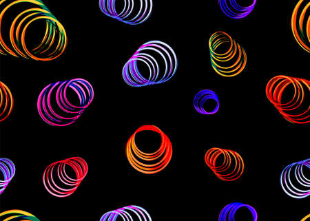 Colorful Seamless Background with colorful neon circles. Vecrot illustration Illustration