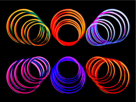 Abstract geometric black background with many circles in disco style, background texture wallpaper in neon colors