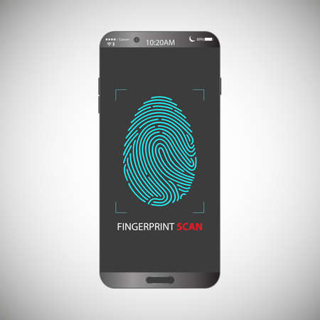 Electronic fingerprint on pass scanning mobile phone screen, security check. Futuristic technology for digital security, identification, privacy system. Vector illustration