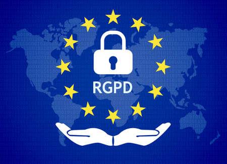 GDPR - General Data Protection Regulation. world map andeu flag. Vector illustration