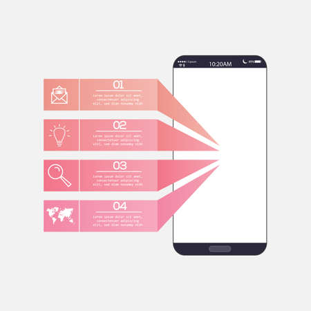 Minimal infographic design with realistic 3D smartphone and design elements. Vector illustration. Eps 10 stock