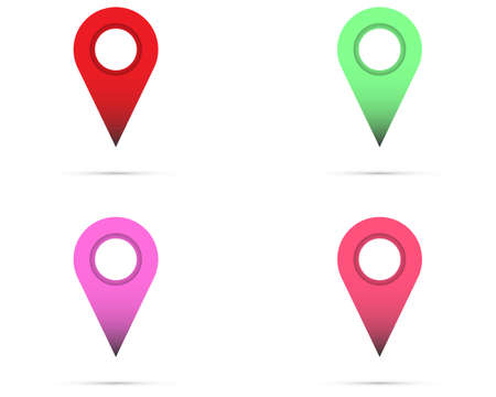 Set of map pointer, map pin, map icon - arrow pin, compass GPS location. Vector illustration Illustration