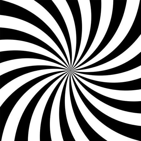 Fond spirale psychédélique hypnotique. Spirale psychédélique avec rayons radiaux. Illustration vectorielle. Vecteurs