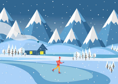 Man skates outdoors in the mountains on a frozen lake. Beautiful winter landscape. Vecroe illustration