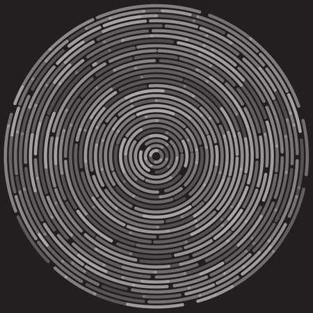 Cercles concentriques aléatoires abstraits monochromes en pointillés sur fond noir. Illustration vectorielle pour concevoir votre site Web et imprimer