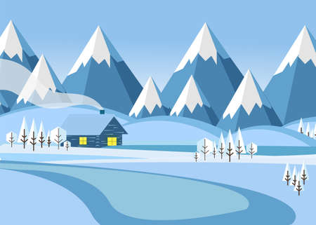 winter mountain landscape with forest and snow-covered field on which stands the house vector illustration. Flat vector illustration