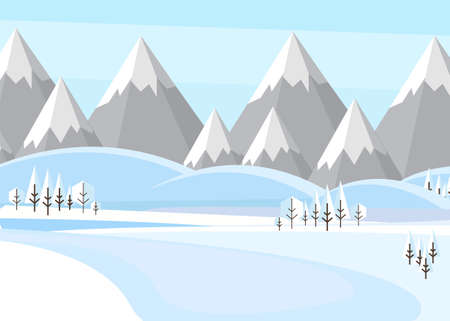 Vector illustration: Winter Mountains landscape with pines and hills. Flat vector illustration Stock Illustratie