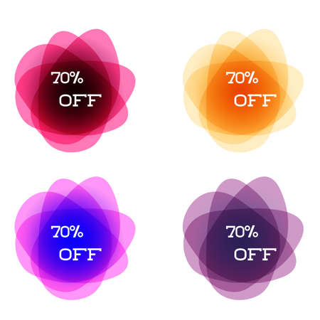 Set of round colorful vector shapes with final sale up to 70 off. Abstract vector banners. Design elements. Perfect design for a shop and sale banners.