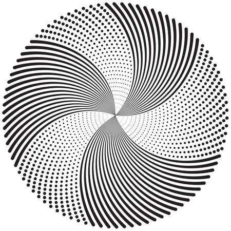 Concentric circulating, circle line and point. Abstract vortex line and dot background. Halftone effect. Vector illustration for design your website