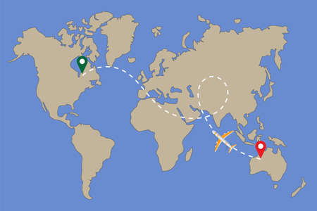 World map with aircraft and its track isolated on blue background. Travel and tourism concept. Vector illustration.