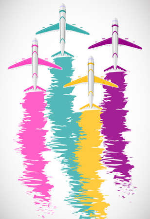 Background with colorful airplanes. Airplanes with colorful tracks. Vector illustration.