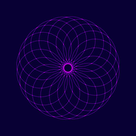 Neon elegant circular pattern om dark background. Circular mathematical ornament. A vector spirograph pattern from the crossed circles. Mandala.