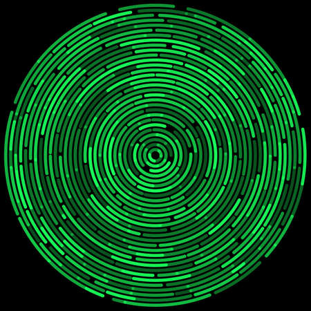 Green abstract dashed random concentric circles on black background. Vector illustration for design your website and print