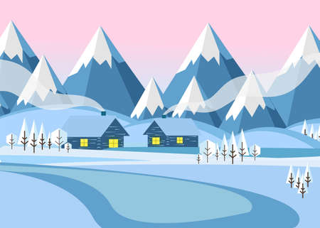Winter landscape with two wooden houses on a background of mountains. Vector illustration