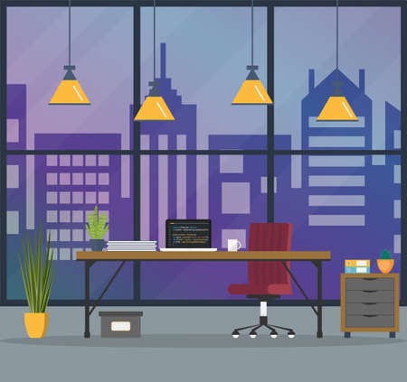 Design of modern office designer workplace. Creative office workspace with big window, desktop, modern monitor, furniture in interior. Vector illustration in flat minimalistic design