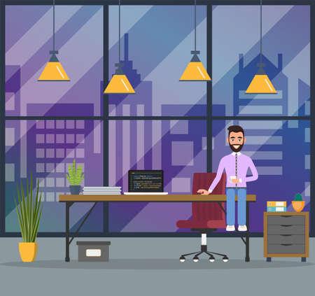 Design of modern office designer workplace. Creative office workspace with big window, desktop, laptop, furniture in interior. Vector illustration in flat minimalistic design Ilustração