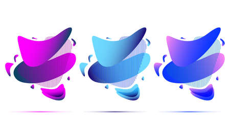 Set of abstract modern graphic elements. Dynamical colored forms and line. Gradient abstract banners with flowing liquid shapes.