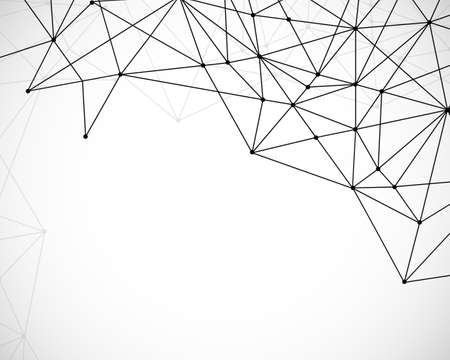Abstract triangles space low poly. White background with connecting dots and lines. Light connection structure. Polygonal vector background. Illustration