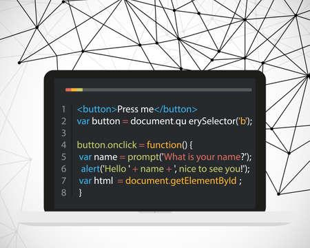 Vector laptop coding concept. Web developer, design, programming. Laptop screen code on polygonal vector background. Vector illustration Illustration