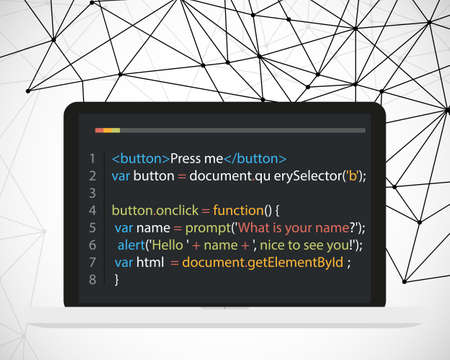 Vector laptop coding concept. Web developer, design, programming. Laptop screen code on polygonal vector background. Vector illustration Иллюстрация