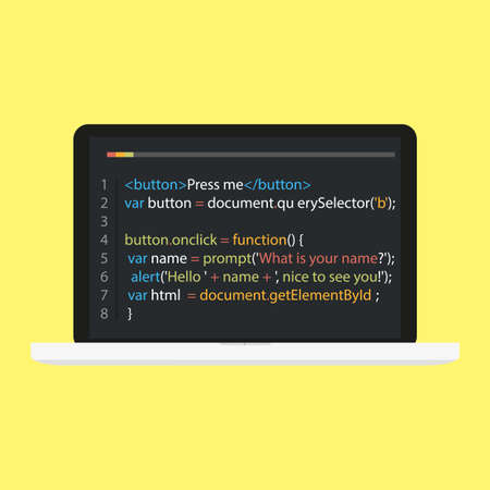 Vector laptop coding concept. Web developer, design, programming. Laptop screen code. Vector illustration