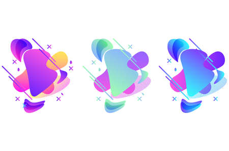 Set of abstract modern graphic elements. Dynamical colored forms and line. Gradient abstract banners with flowing liquid shapes. Vector illustration.