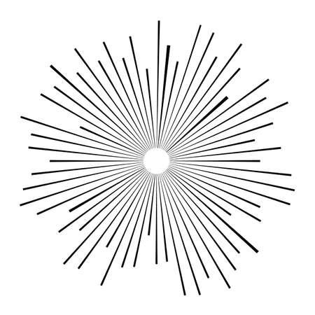 Sunburst rays retro design elements isolated on white background. . Design element for logo, signs. Dynamic style. Vector illustration