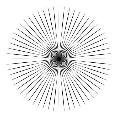 Radial lines abstract geometric element. Spokes, radiating stripes Ilustração